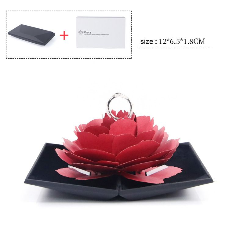 2019 Hot Sell Creative Red Flower Couple Ring Box For Gift