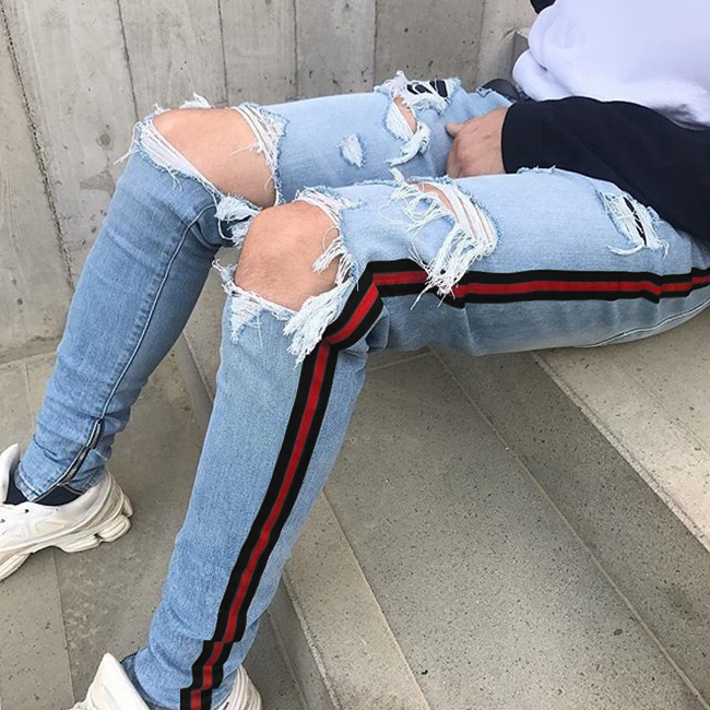 OEM new model bulk wholesale mens fashion Super Skinny Jeans strech pants hemp damaged track destroyed ripped jeans 055