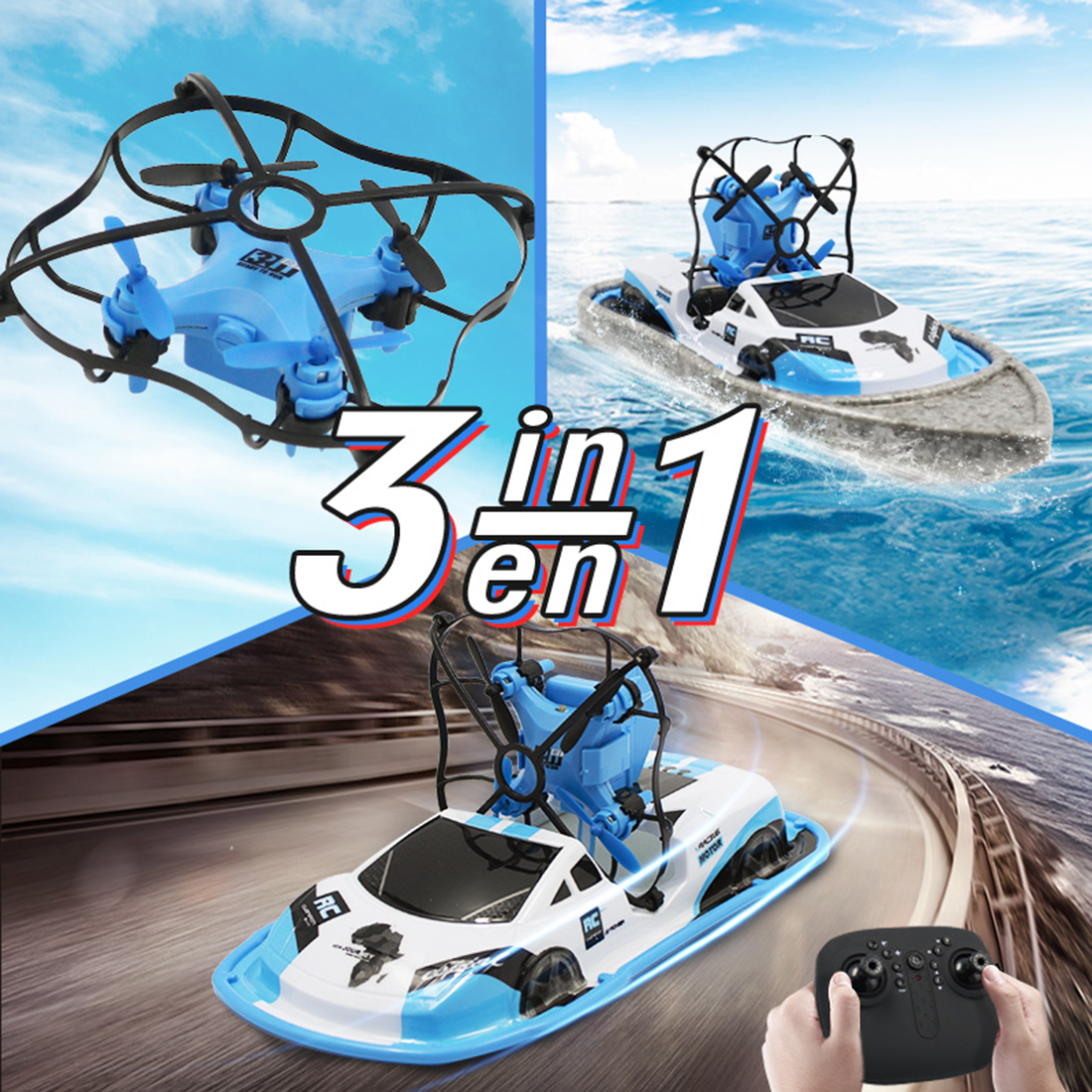 DWI Hot Sale DIY Model 2.4G 6 Axis Car Boat RC Quadcopter 3 IN 1 Drone from Chenghai
