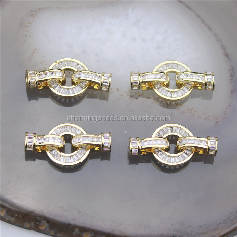 CH-HDP0201 Good quality gold-plated cz clasp,cubic zircon micro pave charm,closure bracelet/necklace component wholesale