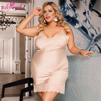 In Stock Plus Size Satin Honeymoon Sexy Women Night Dress For Fat Ladies