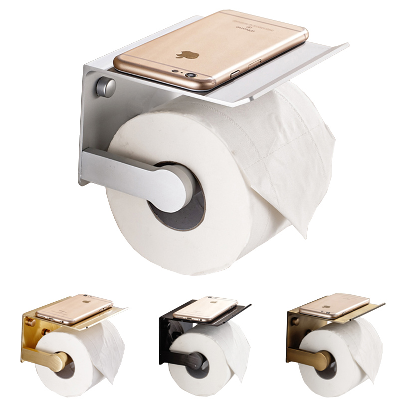 Space Aluminum Wall Mount Toilet Paper Holder with Phone Shelf Toilet Paper Roll Holder with Shelf