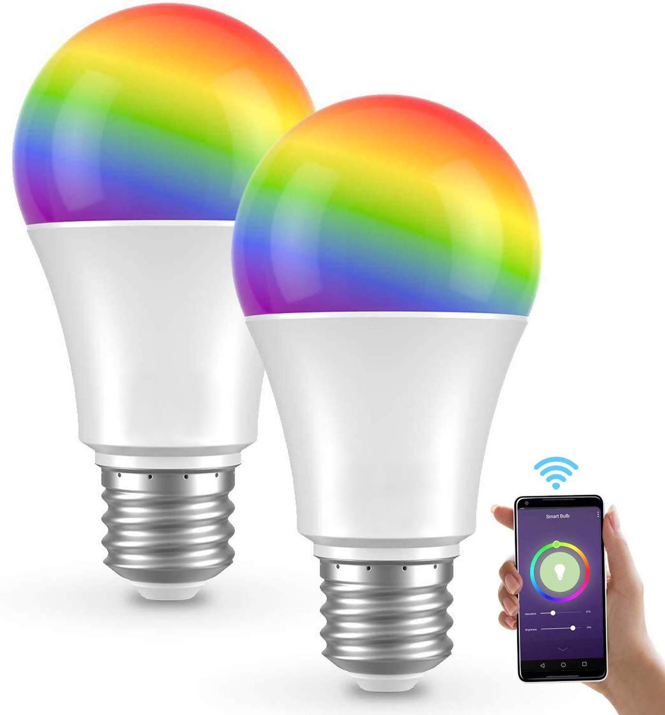 10W A19 A60 Smart WiFi Light <strong>Bulbs</strong> RGB Color Changing Smart LED Light <strong>Bulb</strong> Compatible with Alexa Google Assistant E26 E27 B22