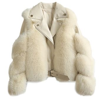 New Style Factory Price Faux Fox Rur Jacket Raccoon Fur Cropped Coat For Women In High Quality
