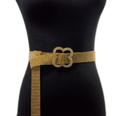 E514 Wholesale Gold Silver Metal Chain Belts Shiny Bling Diamond Waistband Party Waist Rhinestone Crystal Belt