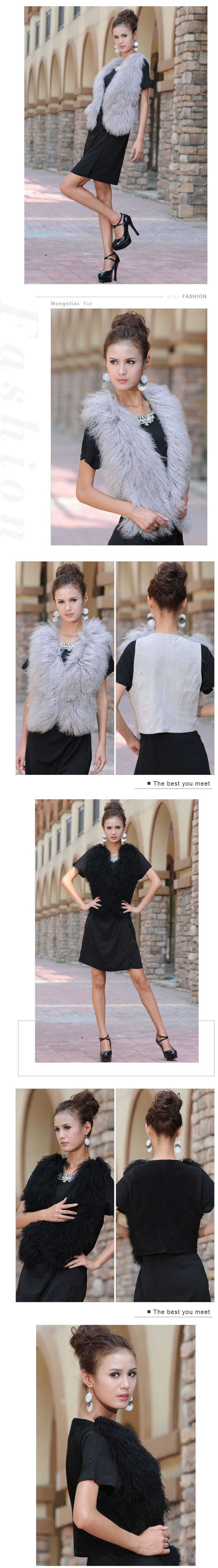 factory price winter real fur vest black women knitted mongolian fur vest