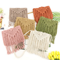 Fashionable Women Cotton Crochet Tassel Shoulder Bag Bohemian Messenger Bag