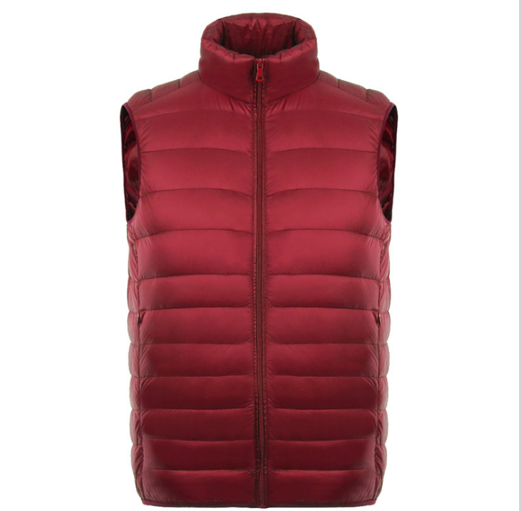 Autumn and winter down jacket men'<strong>s</strong> large size stand collar solid color light short short down vest vest wholesale