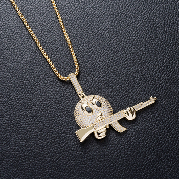 14k gold platedIced out diamond character uzi gun pendant necklace