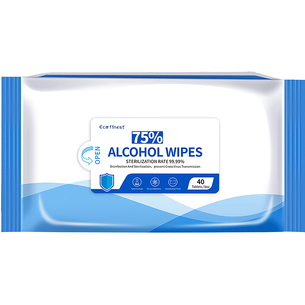 40PCS Hand 75% Alcohol Antibacterial Disinfectant Cleaning Wet Wipes