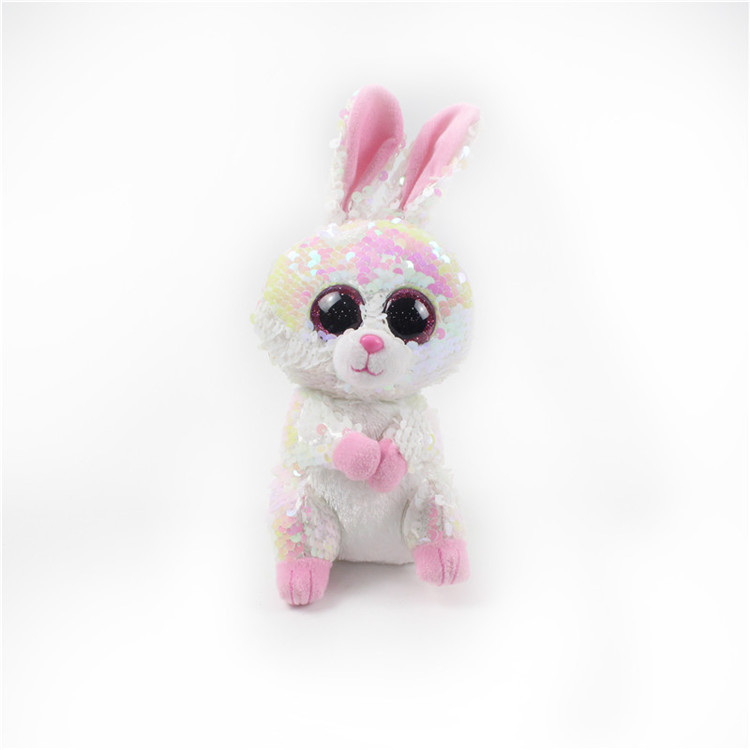 8&quot; Magic Shimmer Reversible Sequin stuffed plush toy <strong>rabbit</strong>