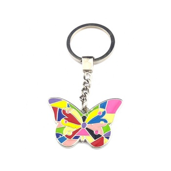 Promotion fashion wholesale custom enamel metal butterfly keychain