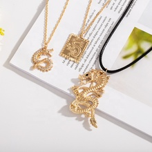 Luxury Square Snake Pendant <strong>Necklace</strong> Men Jewelry Gold Dragon <strong>Necklace</strong>