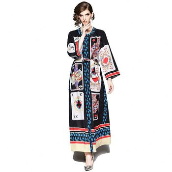 Wholesale In-Stock Long Dress Floral Print Tunic Maxi Women Sleeve Party