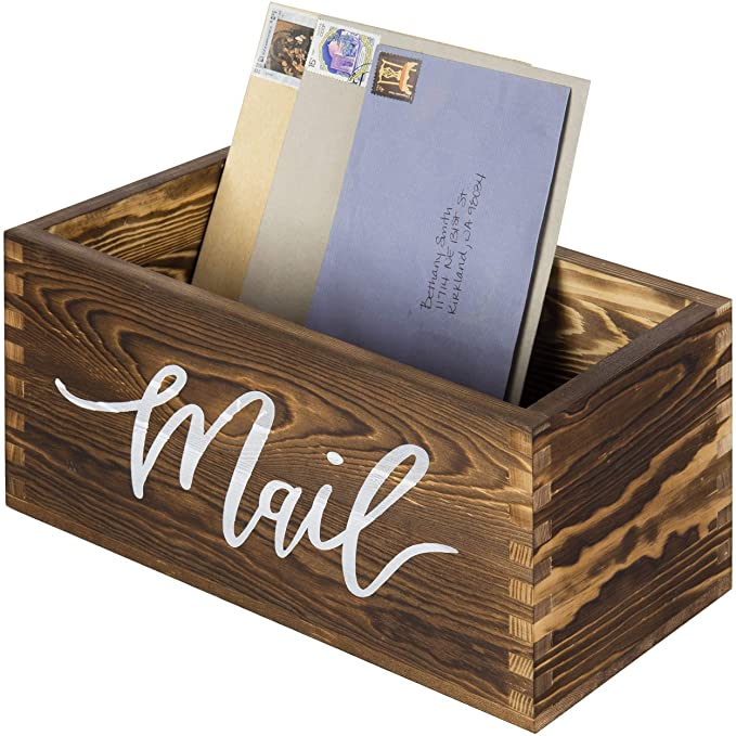 Wood Mail Organizer for Countertop Rustic Mail Holder Desk Letter Bill Storage Box