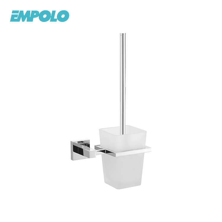 Bathroom wall mounted cleaning plastic bristles square toilet brush with holder