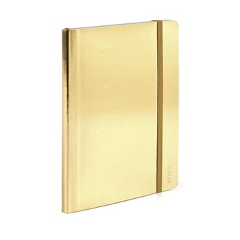 Premium Gold Hardcover Hologram Notebook With Elastic Strap