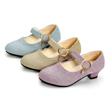 Fashion New Design Kids High Heel Sandals Little Girls Dress Shoes Princess Party Shinny Dress Shoes