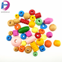 Mix Shape Colorful Wood Beads High Quality Handiwork String Bead Craft