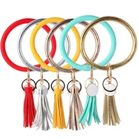 New Fashion PU Leather Bracelet bangle Keychain Color Key Ring Metallic Tassel Pendant