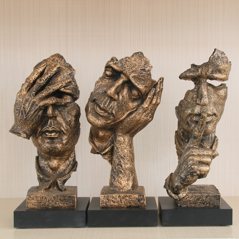 Accept Custom Northern Europe Abstract Polyresin Statue For Home Decor Bronze Art Face Sculpture JE-004