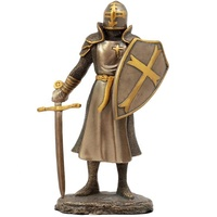 Bronzed Crusader Knight Figurine Resin, Medieval Royal Suit of Polyresin Armor Knight