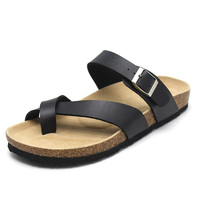 wholesale 2019 New Designs custom black Slide slipper casual cork sole genuine leather pu sandals for men