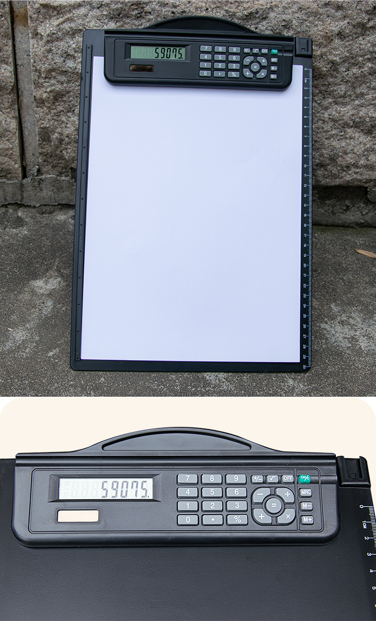 Black color heavy duty PP plastic A4 size letter size clipboard with calculator