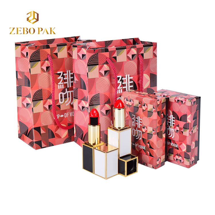 Custom logo jewelry printing paper handle bag Lipstick necklace gift box set packaging