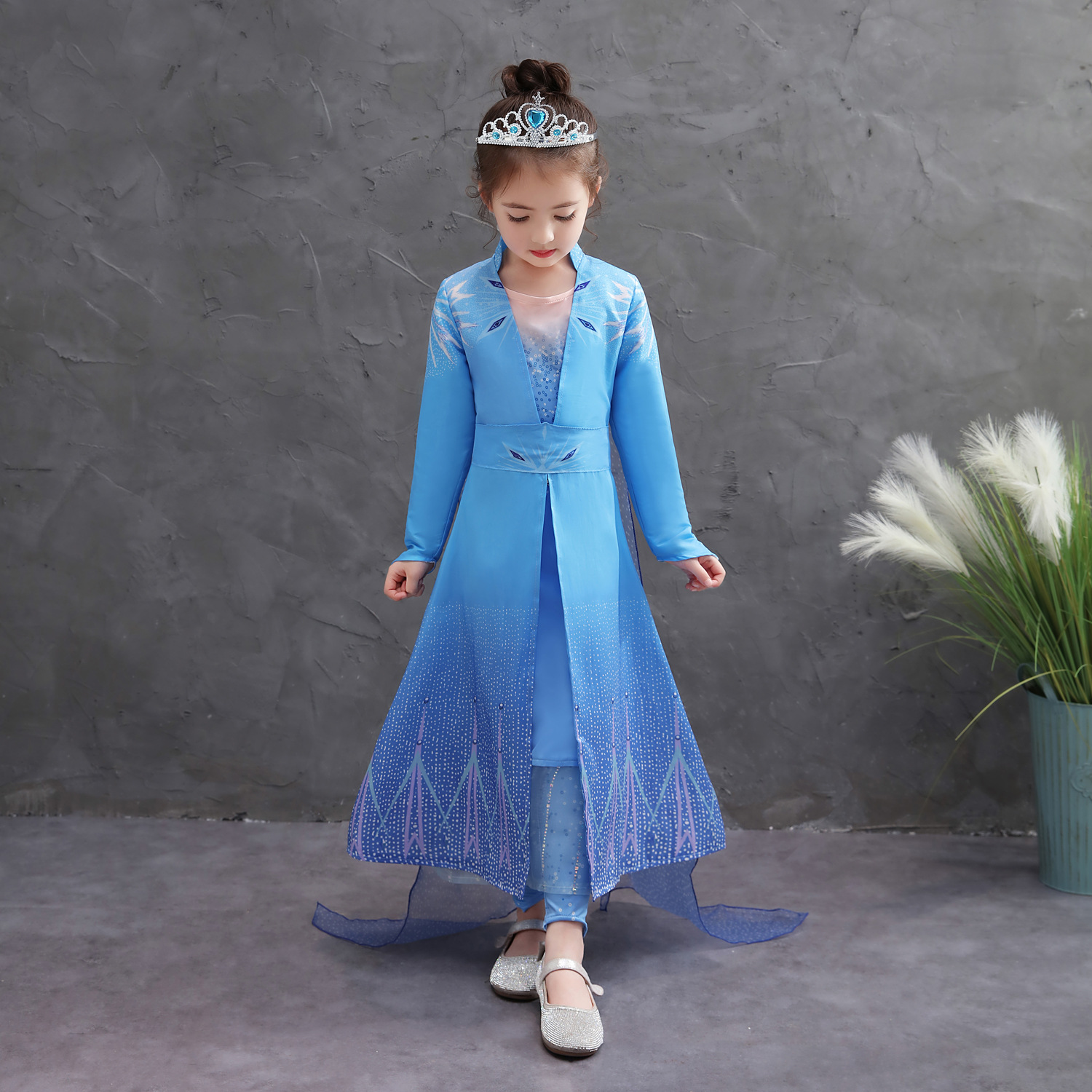<strong>D12</strong> Children Frocks Dress Autumn New Arrival Elsa Anna Princess Long frock Kids Girls Evening Dresses
