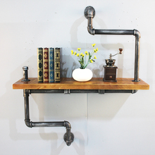 Metal industrial furniture wall mount 2-<strong>Shelf</strong> Retro Pipe Book <strong>Shelf</strong>