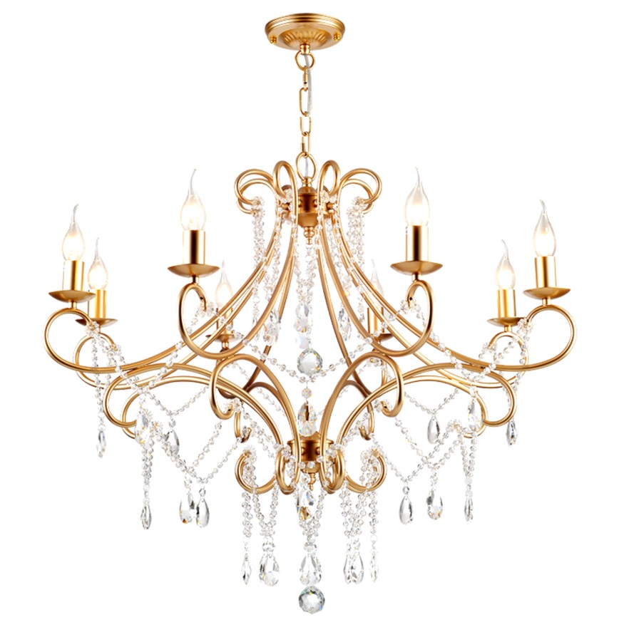 8 Light Brass crystal Victorian Chandelier with K9 Crystal Raindrop Large Antique Chandelier for Living Room