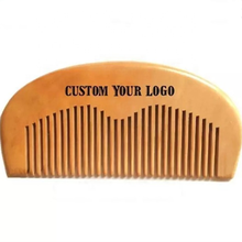 Private Label Hair Pocket Size Natural Peach Wood Beard Comb For Travel