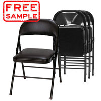 Free sample china wholesale custom commercial outdoor stackable metal folding chair garden chair for wedding party events