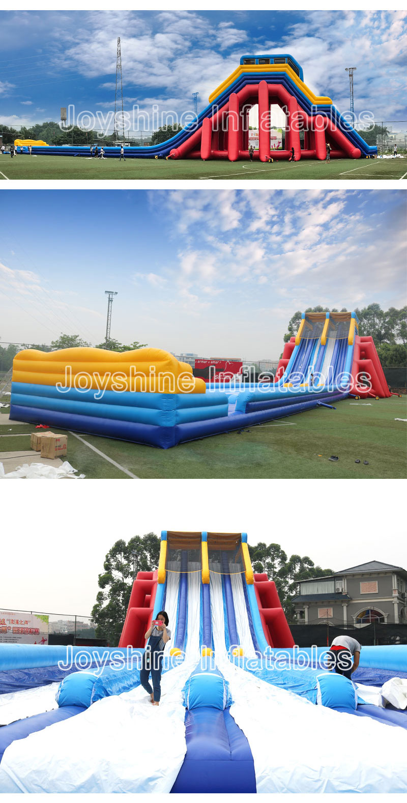 Giant White House Inflatable Bouncy Winter Snow Dry Slide Outdoor Kids Adult Sliding Game Playground Bounce Slides For Sale