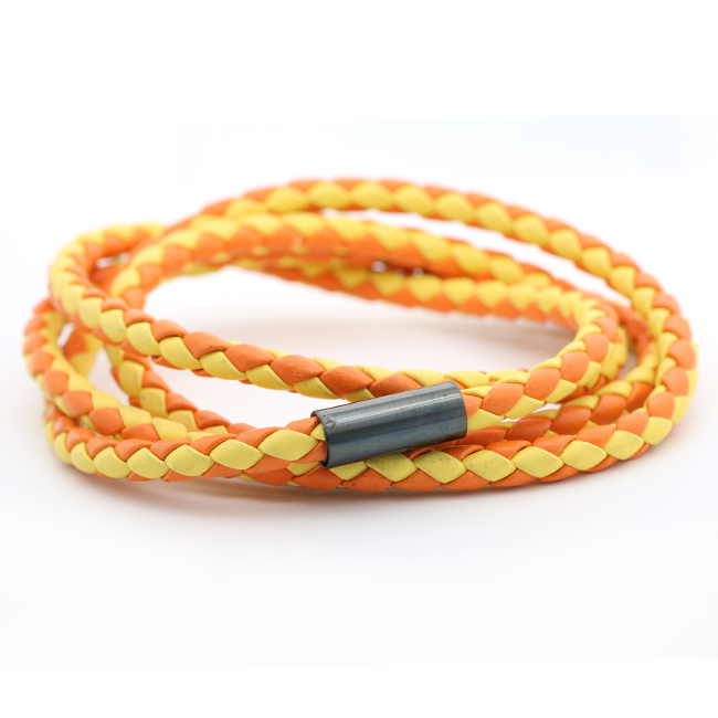 New Style Charming Round Wraps PU Braided Bracelet with Stainless Steel Gadget Adjustable String Rope Bracelet for Women Girls