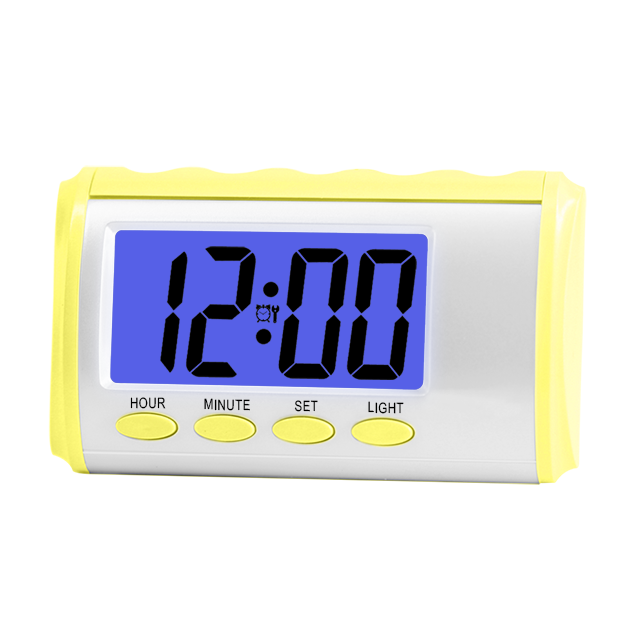 2020 French LCD display chime every hour digital AA <strong>battery</strong> operated talking alarm clock