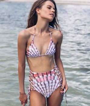 2019 Swimwear Women Triangle Bikini Set Bandage Shell Print Lace up Hollow Out High Waist Push Up Swimsuit