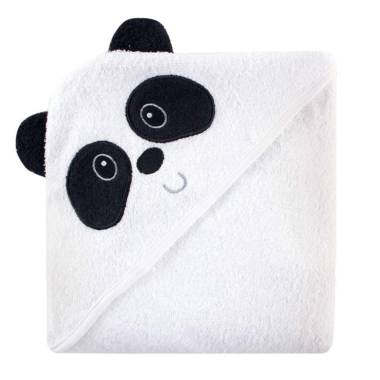 amazon hot selling 100% organic <strong>cotton</strong> panda face ear hoded baby bath towels