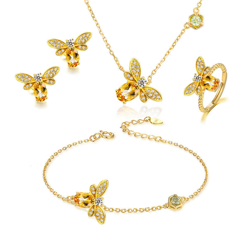 V&amp;R Fashion Jewelry 18K Gold Plated Cute Zircon Honey Bee Jewelry <strong>Sets</strong>