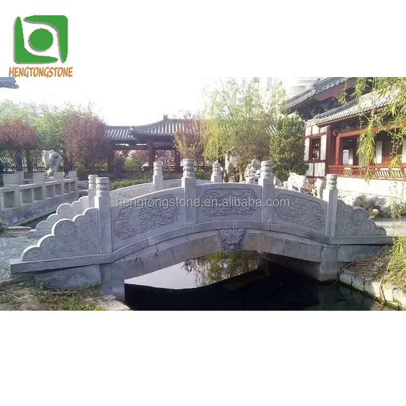 Black Marble Small Bridge Sculpture In Stock For Outdoor Decoration