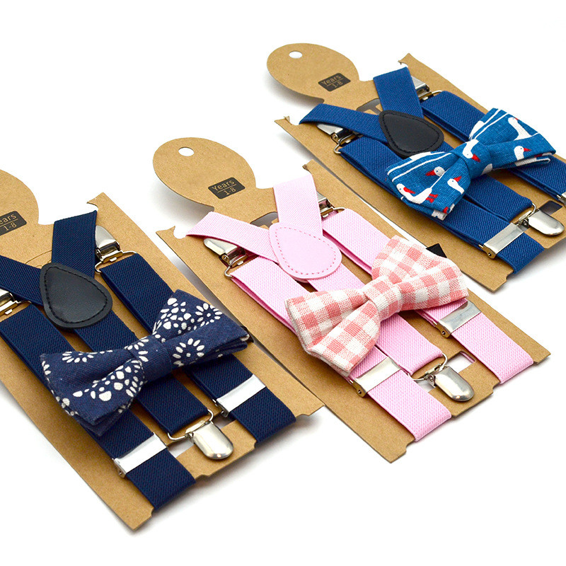 Unisex Children Kids Suspenders Metal Adjustable Elastic Back Braces Bow Tie Suspenders