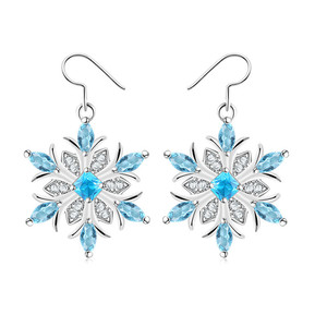Popular Sapphire Crystal Hypoallergenic Snowflake Drop Earrings For Christmas party gift