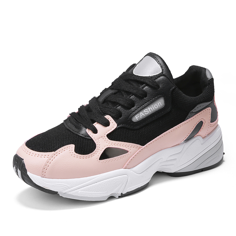 Fancy Black White Running Sport Shoes Sneakers for Women