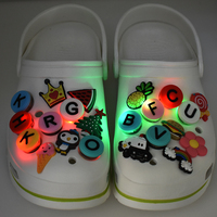 Stock LED Light up Design PVC Rubber Flashing Shoe Charms Accessories Buckles For Clog Shoes