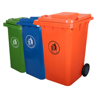 120ltr HDPE garbage bin with wheels and lid plastic trash bin