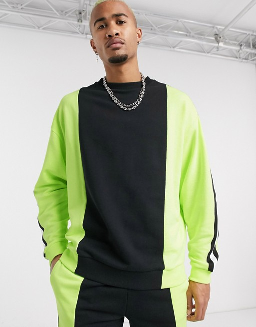KY crewneck sweatshirt and Drawstring waistband Side pockets Neon panels clothes co-ord men skinny shorts with colour block