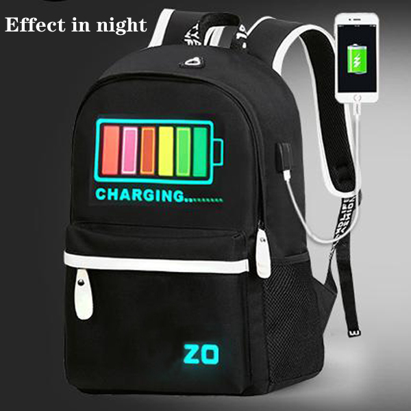 Junior High School Bag External USB Charging Port Can Shine Bag LED Backpack