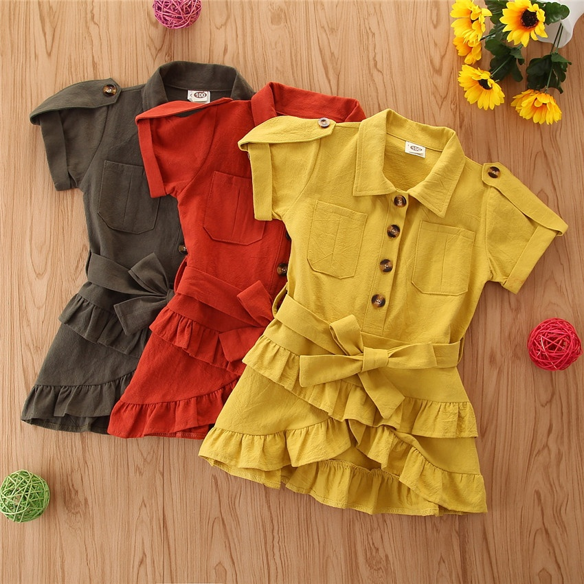 2-7Y Fashion Infant Baby Girls Summer Dress Solid Short Sleeve Ruffles A-Line Mini Dress+<strong>Belt</strong> <strong>3</strong> Colors