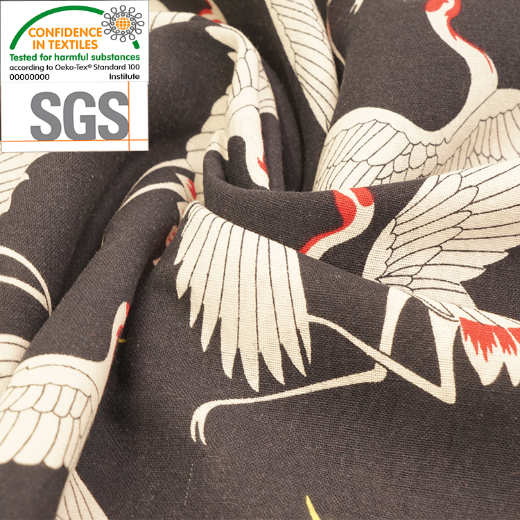High Quality 100% Cotton Printed Crane Pattern Clothing Home Textile <strong>Fabric</strong>